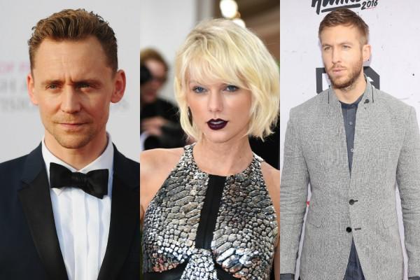 Tom Hiddleston, Taylor Swift e Calvin Harris (Foto: Getty Images)