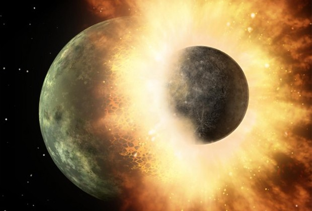 Concepção artística de uma colisão planetária mostram um impacto similar ao que teria ocorrido na Terra, levando à criação da Lua (Foto: Divulgação/Nasa/JPL-Caltech)
