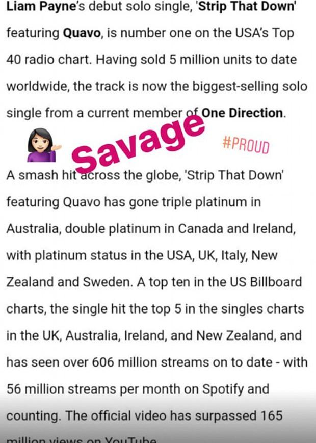 Cheryl Cole elogia single do namorado, Liam Payne (Foto: Reprodução/Instagram)