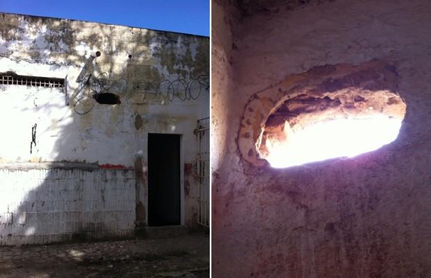 Presos utilizaram a cerâmica do vaso sanitário para quebrar a parede próximo ao teto (Foto: Muriú Mesquita/Inter TV Cabugi)