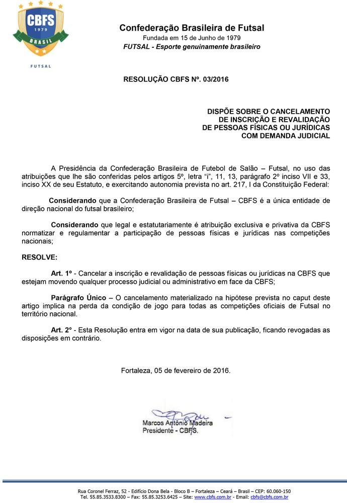 ofício da Confederação Brasileira de Futsal (Foto: Reprodução )
