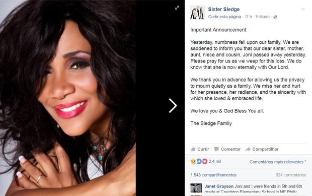 Nota sobre a morte de Joni Sledge foi divulgada no Facebook (Foto: Reprodução/Facebook)