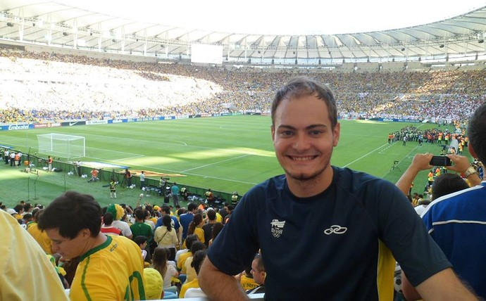 Thiago Bomfim no Maracanã, em 2014. O estádio irá receber a abertura da Copa do Mundo (Foto: Arquivo Pessoal)