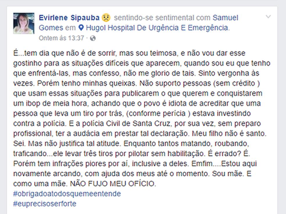 Ex-vereadora fez post na internet após o filho ser baleado (Foto: Reprodução/Facebook)
