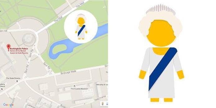 Easter Egg do Google Maps substitui Pegman por ícone da Rainha (Foto: Reprodução/Google)