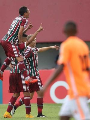 Comemoração do Fluminense contra o Nova Iguaçu (Foto: Márcio Mercante / Estadão contéudo)