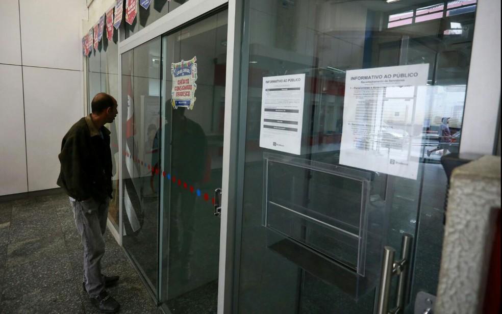 Agência de banco fechada no Centro de São Paulo (Foto: Marcelo Brandt/G1)