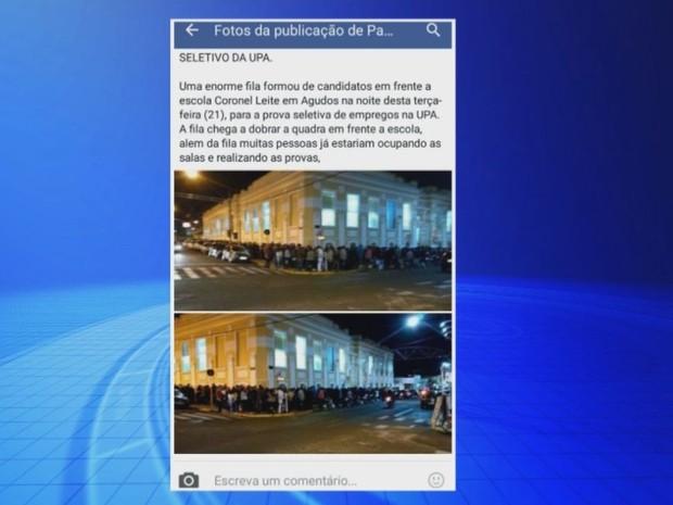 Candidatos publicaram fotos da fila nas redes sociais  (Foto: Reprodução / TV TEM)