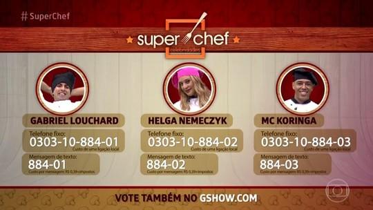 Gabriel Louchard, Helga Nemeczyk e MC Koringa estão na final do 'Super Chef Celebridades'