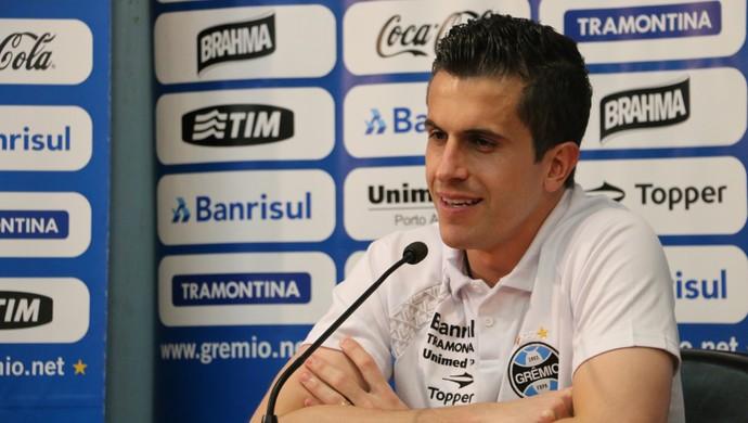 Marcelo Grohe concede entrevista coletiva (Foto: Eduardo Deconto/GloboEsporte.com)