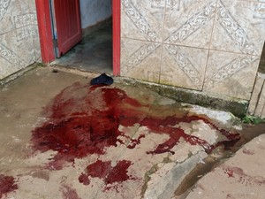 Local do crime foi marcado pelo sangue da vítima (Foto: Toni Francis/G1)