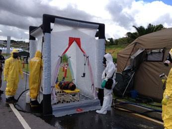 Treinamento do Exército de defesa química, biológica, radiológica e nuclear para a Copa das Confederações (Foto: Bianka Carvalho / TV Globo)