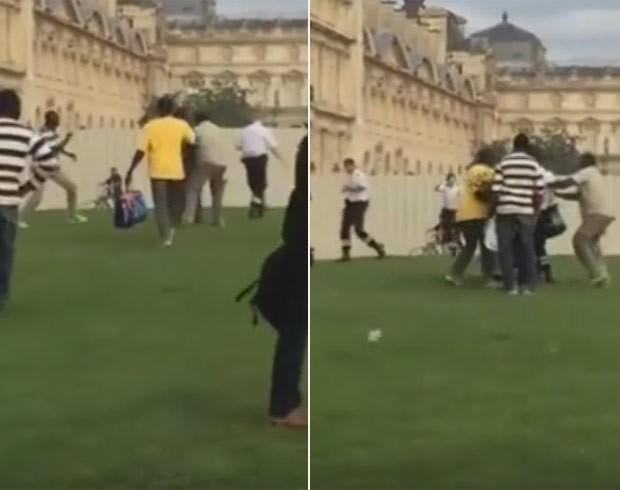 Vendedores ambulantes agrediram policiais que tentavam expulsá-los de perto do Louvre (Foto: Reprodução/YouTube/Sen telefilms)