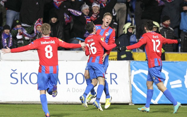 Prochazka comemora gol do Viktoria Plzen contra o Atlético de Madrid (Foto: Agência Reuters)