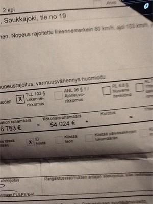 Foto postada por Reima Kuisla comprova o valor da multa (Foto: Reprodução/Facebook/Reima Kuisla )