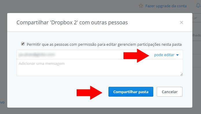 Insira seu segundo e-mail cadastrado no Dropbox (Foto: Reprodução/Paulo Alves)