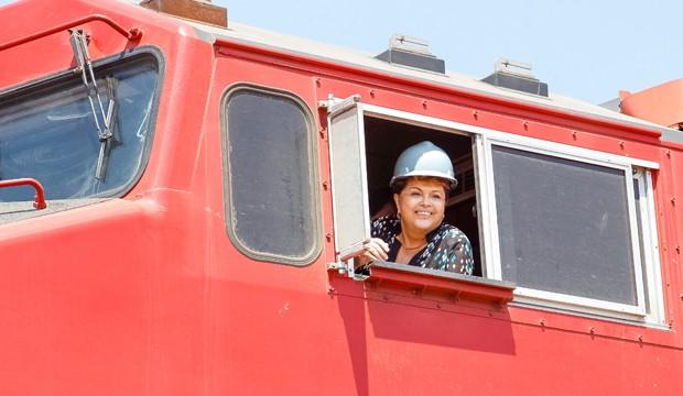 A presidenta Dilma Rousseff em Rondonópolis (MT), em inauguração da Ferronorte  (Foto: Roberto Stuckert / PR)