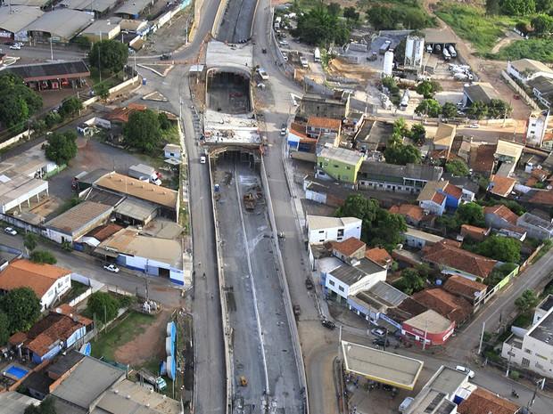 Obra da trincheira do Verdão em Cuiabá (Foto: Edson Rodrigues/Secopa)