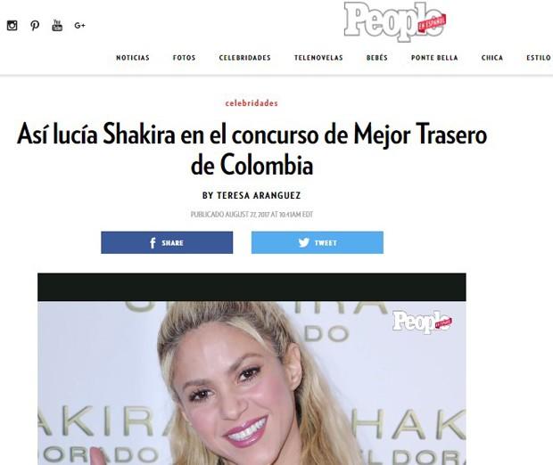Notícia que Shakira foi Miss Bumbum foi dada pela People (Foto: Reprodução)