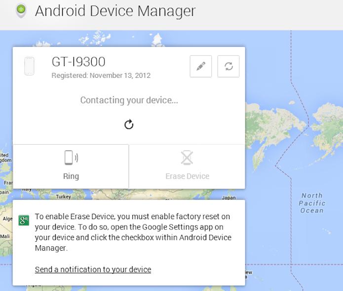 Rastrear um smartphone Android com o serviço Device Manager, do Google (Foto: Reprodução/Thiago Barros)