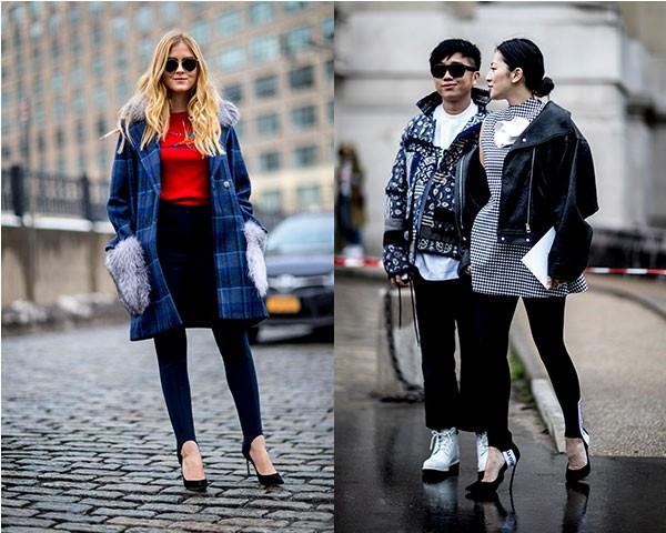 No street style, a legging apareceu produções no estilo hi-lo (Foto: Imaxtree)