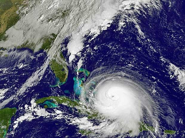 Imagem de satélite do furacão Joaquín (Foto: NOAA / via AP Photo)