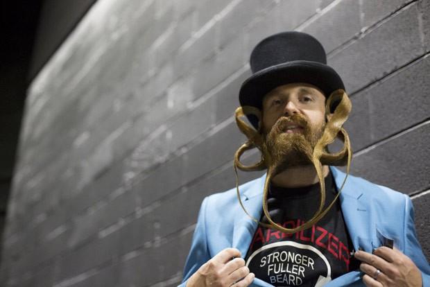 Garey Faulkner, de Cincinnati, ficou em terceiro na categoria barba livre (Foto: Elizabeth Shafiroff/Reuters)