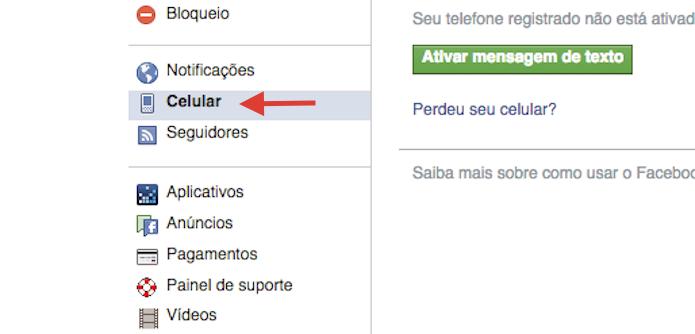 Acessando as configurações de celular do Facebook (Foto: Reprodução/Marvin Costa)