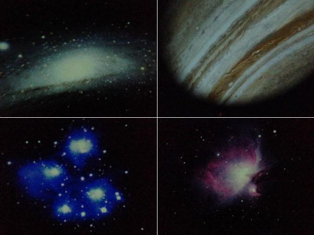 Durante exibição é possível ver estrelas, planetas e os 'berçarios' das estrelas, as nebulosas (Foto: Káthia Mello/G1)