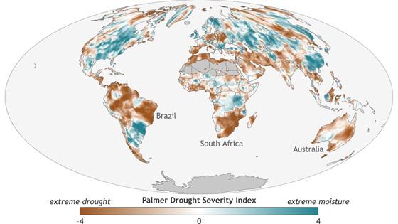Áreas que enfrentaram seca em 2016 em comparação com a média de 1901-2016 para cada região (Foto:  State of the Climate in 2016)