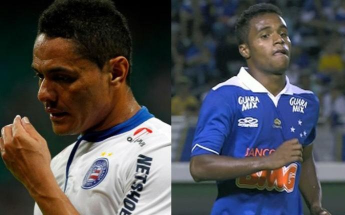 Hélder e Elber, novos jogadores do Coritiba (Foto: Felipe Oliveira/Divulgação/EC Bahia e Reprodução/TV Globo Minas)