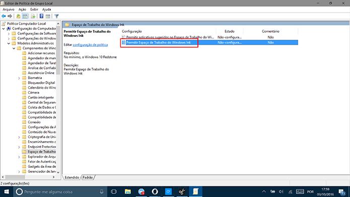 Dê um duplo clique na opção de permitir o Windows Ink (Foto: Reprodução/Elson de Souza)
