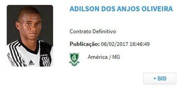 Juninho; bid; América-MG (Foto: Reprodução)
