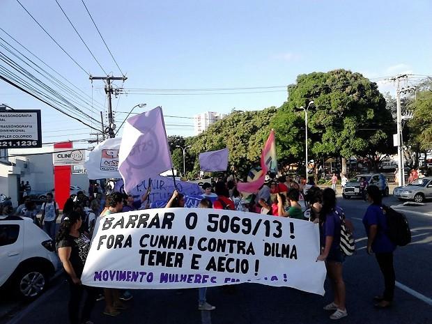 Manifestantes levaram faixas e cartazes para demonstrar insatisfação com os representantes da política nacional (Foto: Karina Dantas/G1)