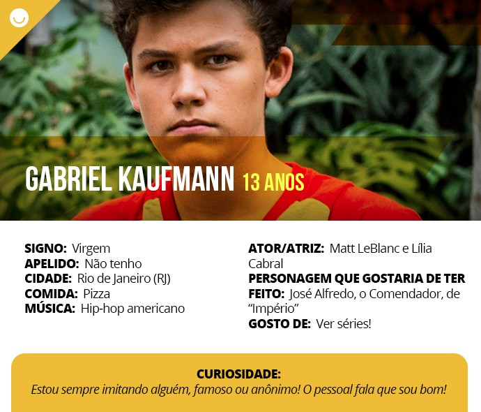 Card com informações curiosas de Gabriel Kaufmann (Foto: Gshow)