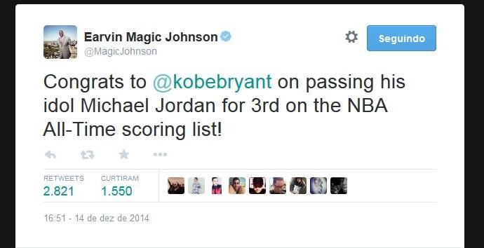 Magic Johnson envia mensagem para Kobe Bryant (Foto: Reprodução/Twitter)
