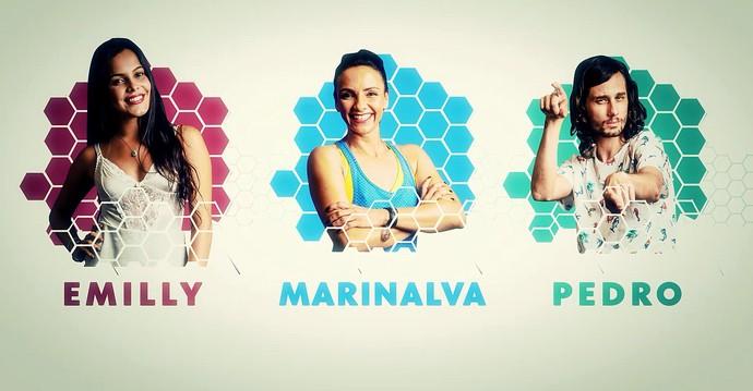 Os emparedados da vez no jogo: Emilly, Marinalva e Pedro (Foto: TV Globo)