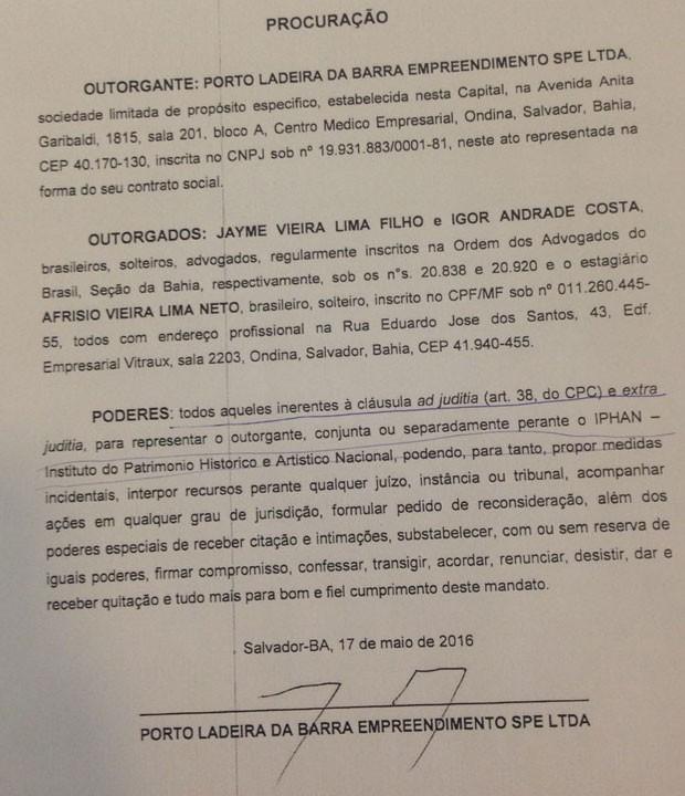 Procuração caso Geddel (Foto: Divulgação)