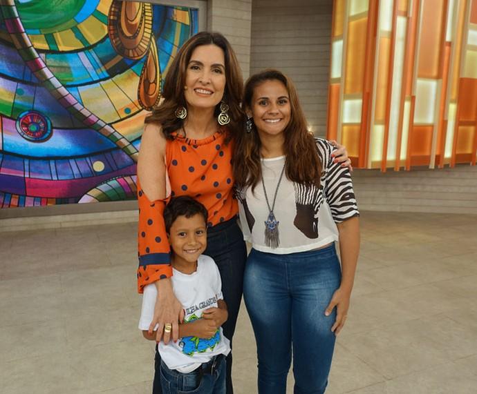 Fátima com convidados do programa  (Foto: Carolina Morgado/Gshow)