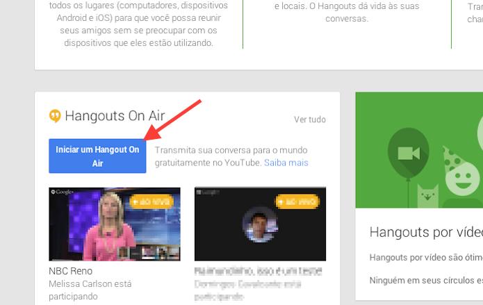 Iniciando a configuração de um novo Hangouts on Air do Google (Foto: Reprodução/Marvin Costa)