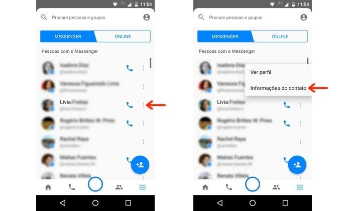 Botão para exibição das informações do contato no Messenger (Foto: Reprodução/Raquel Freire)