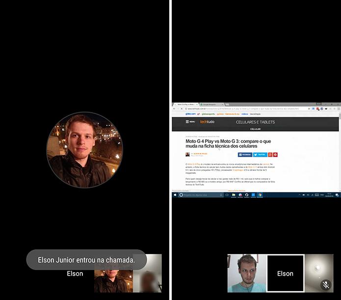 Hangouts mostrará que nova pessoa entrou na conversa e exibirá transmissão de tela (Foto: Reprodução/Elson de Souza)