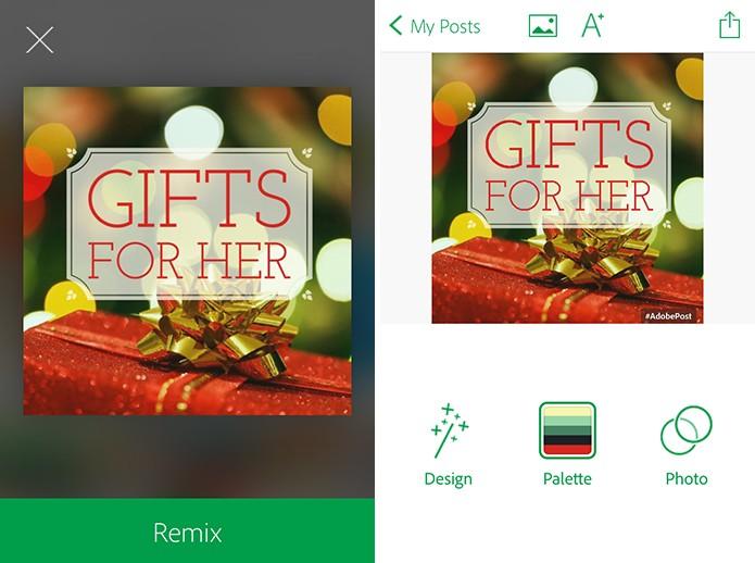 Adobe Post traz três grandes áreas de personalização do cartão virtual (Foto: Reprodução/Elson de Souza)
