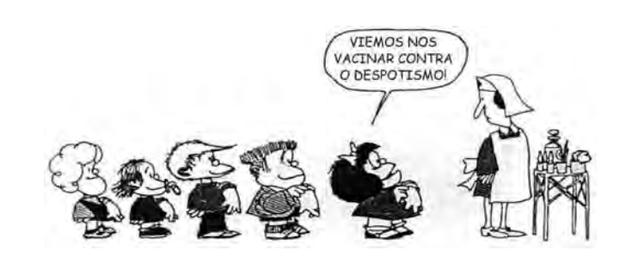 QUINO. Toda Mafalda. São Paulo: Martins Fontes, 1991. (Foto: Reprodução/Enem)