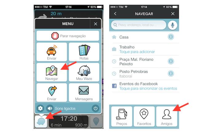 Acessando seus amigos no Waze para compartilhar seu percurso atual (Foto: Reprodução/Marvin Costa)
