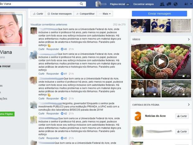 Internautas se revoltaram com postagem e fizeram críticas à possível apoio do governador à faculdade particular (Foto: Reprodução/Facebook)