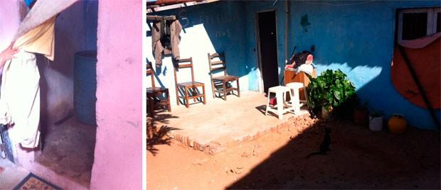 Foto mostra o banheiro onde Joana D'arc foi assassinada e a fachada da cada dela (Foto: Matheus Magalhães/G1)