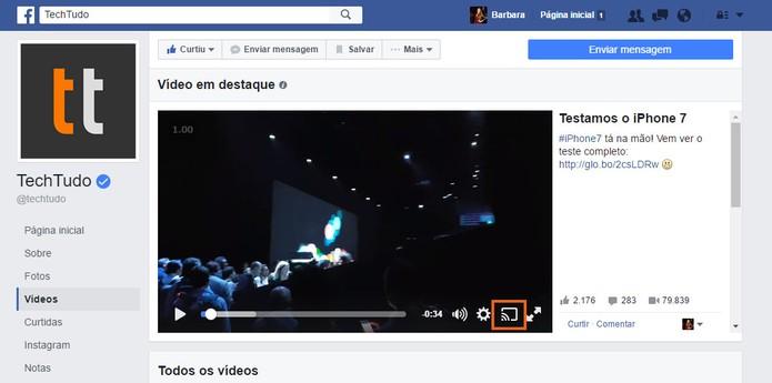 Inicie a transmissão do vídeo do Facebook no ícone de streaming (Foto: Reprodução/Barbara Mannara)