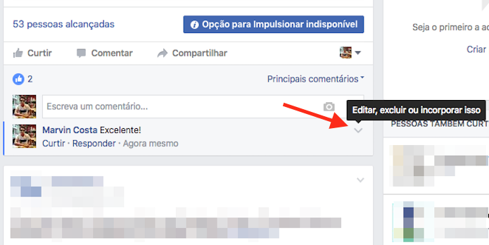 Acesso para opções de um comentário em uma página do Facebook (Foto: Reprodução/Marvin Costa)
