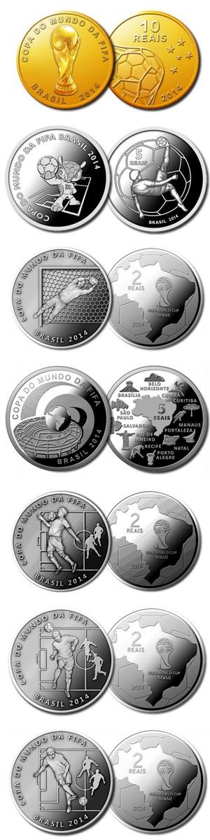 Moedas comemorativas da Copa do Mundo (Foto: Divulgação/Banco Central do Brasil)